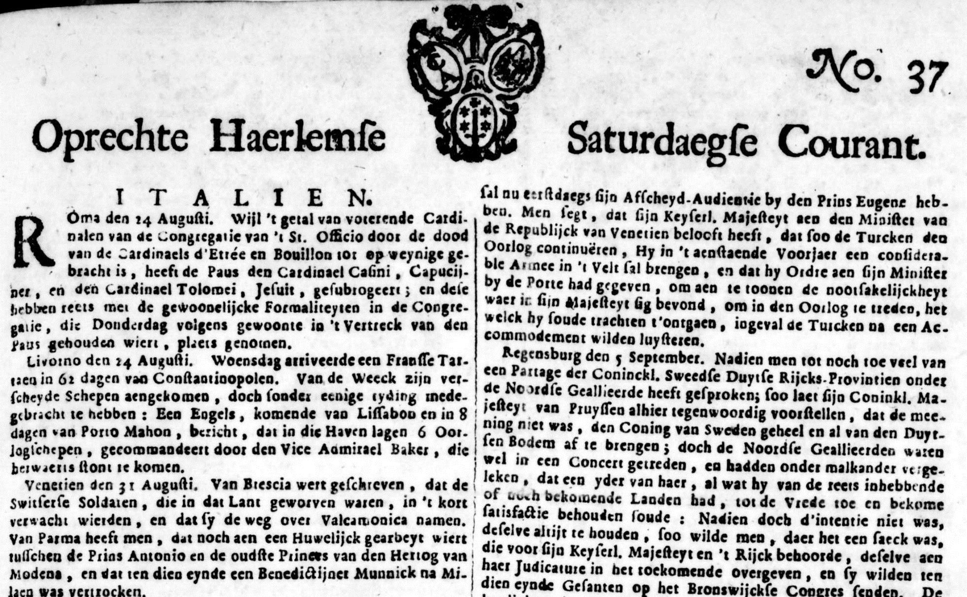 Wat schreef de krant in 1715?