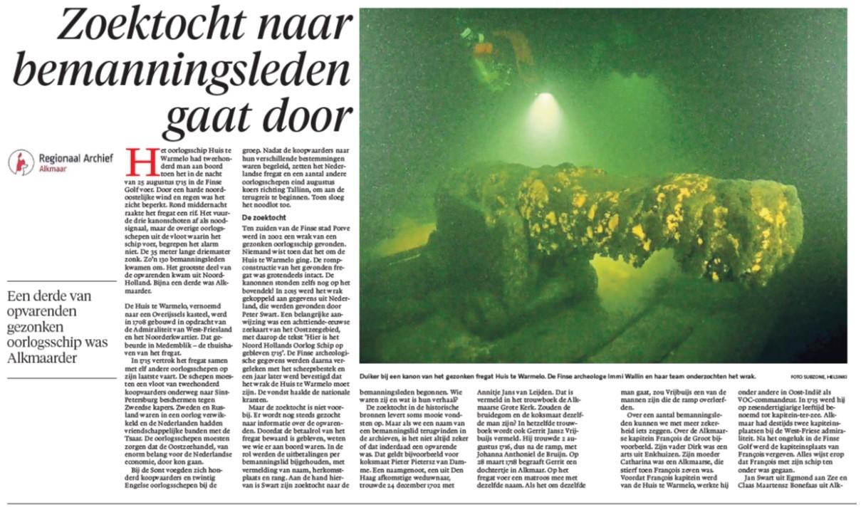 Artikel in Alkmaarsche Courant